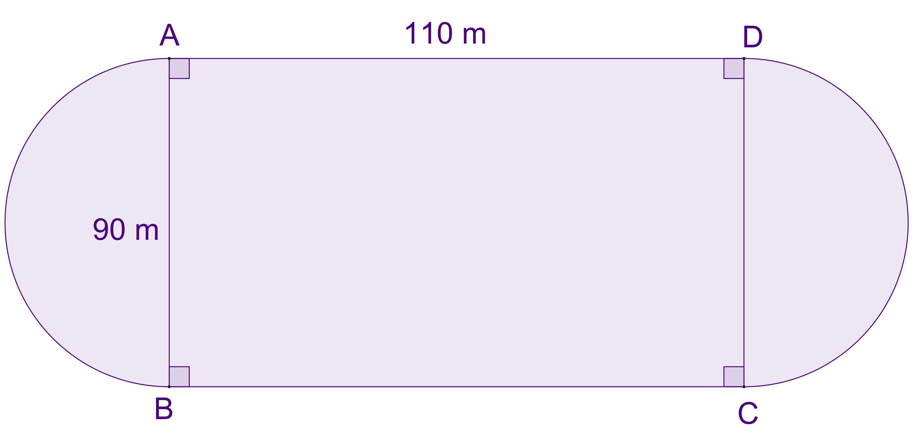 Mathplace exercice_5e_perimetre_aire-13-1 Exercice 1 : aire d'une piste d'athlétisme